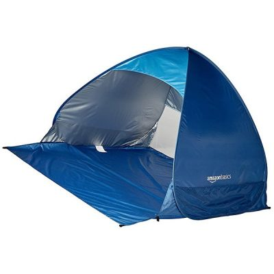amazonbasics pop-up beach tent sun shade shelter - best baby beach tent