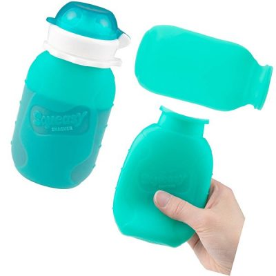 aqua 6 oz squeasy snacker spill proof silicone reusable food pouch - best reusable baby food pouches