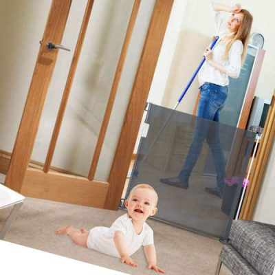 babepai retractable baby gate door grey - best retractable baby gates