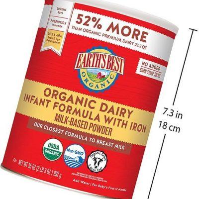 earth's best organic dairy infant powder formula with iron - best organic baby formula