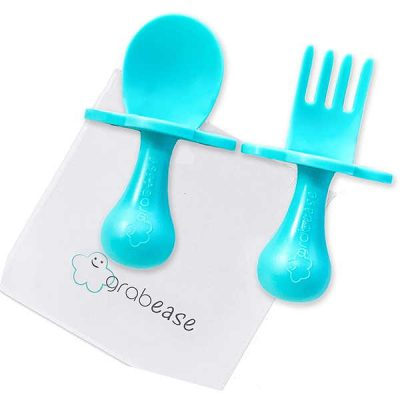grabease first self feed baby utensils with a togo pouch - anti-choke - best baby spoons for self feeding