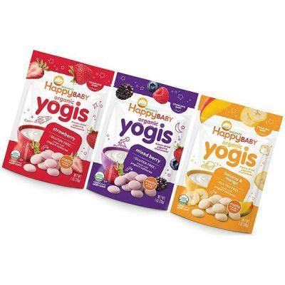 happy baby organic yogis freeze-dried yogurt & fruit snacks - best yogurt for babies