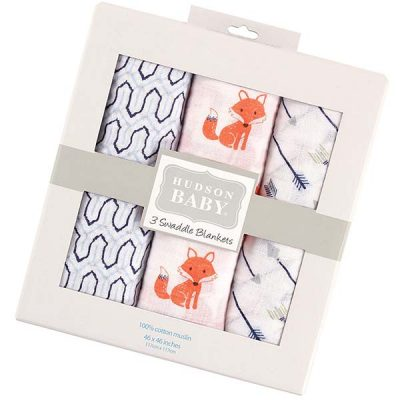 hudson baby unisex baby cotton muslin swaddle blankets - best baby swaddle blankets