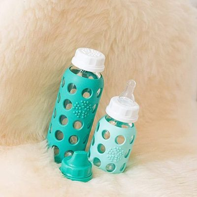 lifefactory 4-ounce bpa-free glass baby bottle with protective silicone sleeve and stage 1 nipple - best glass baby bottles