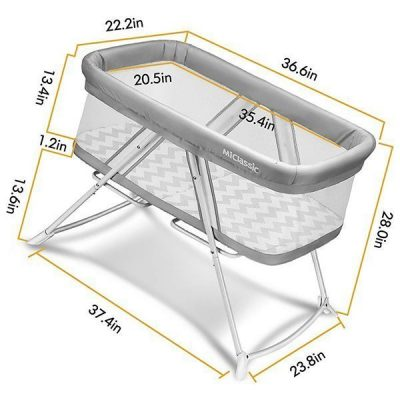 miclassic all mesh 2in1 stationary & rock bassinet - best baby bassinets