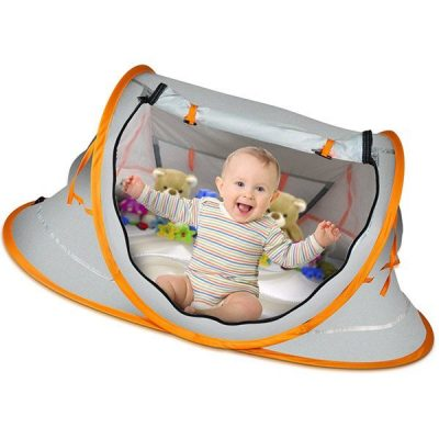 overcrest portable pop up baby beach tent with upf 50+ sun shade - best baby beach tent