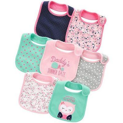 simple joys by carter's baby girls' 7-pack teething bibs - best baby bibs
