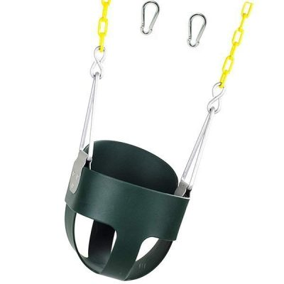 squirrel high back full bucket toddler swing seat with plastic coated chains - best outdoor baby swing
